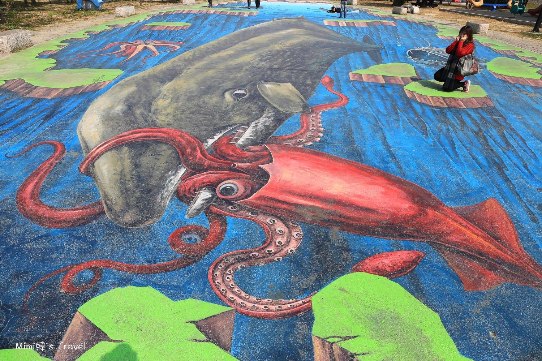 【嘉義景點】布袋好美里彩繪村:全台最大3D地景彩繪, 好美的海洋風3D立體彩繪村。